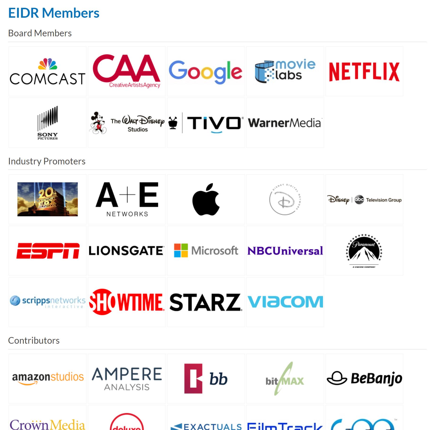 Membros do EIDR - Como registrar filmes e programas de TV no EIDR