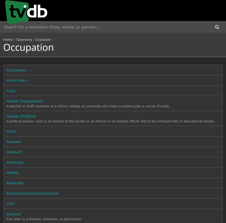 TheTVDB - Taxonomy